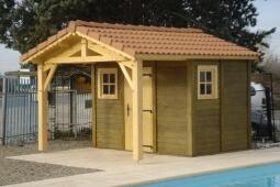Pool House en béton aspect bois Doizon