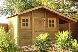 Annexe de jardin en béton aspect bois