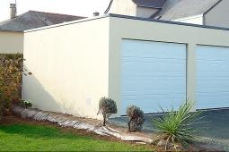 Garage béton enduit 2 portes