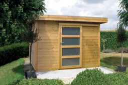 Abri de jardin en bois, toit plat